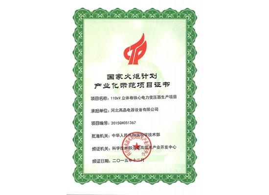 国家火炬计划产业化项目证书